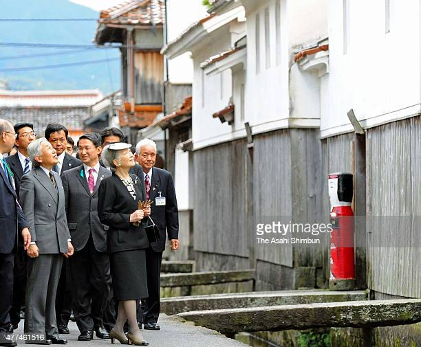Japanese Emperor Akihito and Empress Michiko visit ShirakabeDozo area on October 31 2011 in Kurayoshi Tottori Japan