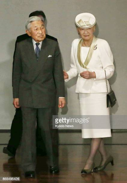 Japanese Emperor Akihito and Empress Michiko visit the Museum of Art Ehime in western Japan on Sept 29 2017 The imperial couple will attend the...