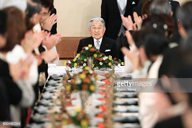 Japanese Emperor Akihito attends a banquet at the Imperial Palace in Tokyo to celebrate his 83rd birthday on Dec 23 2016