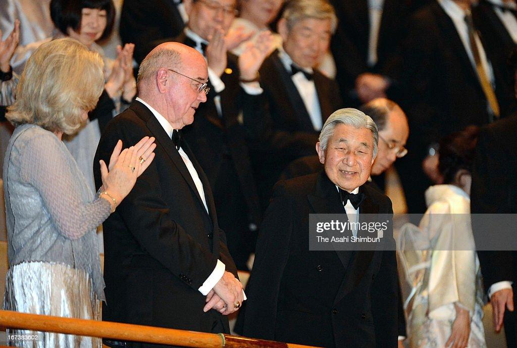 Japanese Emperor Akihito attends the Japan Prize award ceremony on April 24, 2013 in Tokyo, Japan.