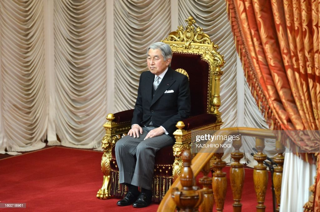 Japanese Emperor Akihito attends the opening ceremony of the 150-day parliament session at the parliament in Tokyo on January 28, 2013. Prime Minister Shinzo Abe pledged on January 28 he would not keep stimulus spending 'forever' in a policy speech ahead of a budget that will raise more in taxes than it does from borrowing.