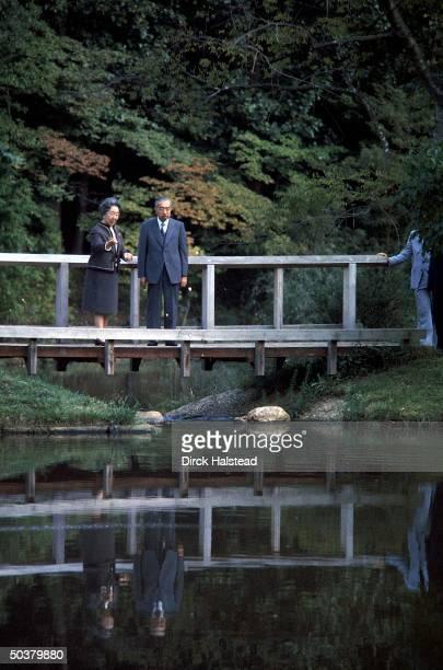 Japanese Emperor Hirohito Empress Nagako on footbridge at Colonial Williamsburg