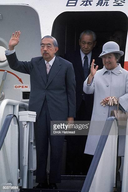 Japanese Emperor Hirohito Empress Nagako waving as they deplane during his US visit