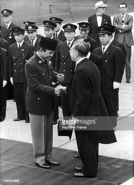 Japanese Emperor Hirohito Receiving Indonesian President Sukarno At His Arrival To Tokyo On June 19Th 1959