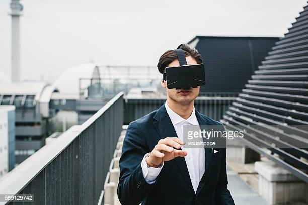 Japanese Entrepreneur with Visual Reality Headset