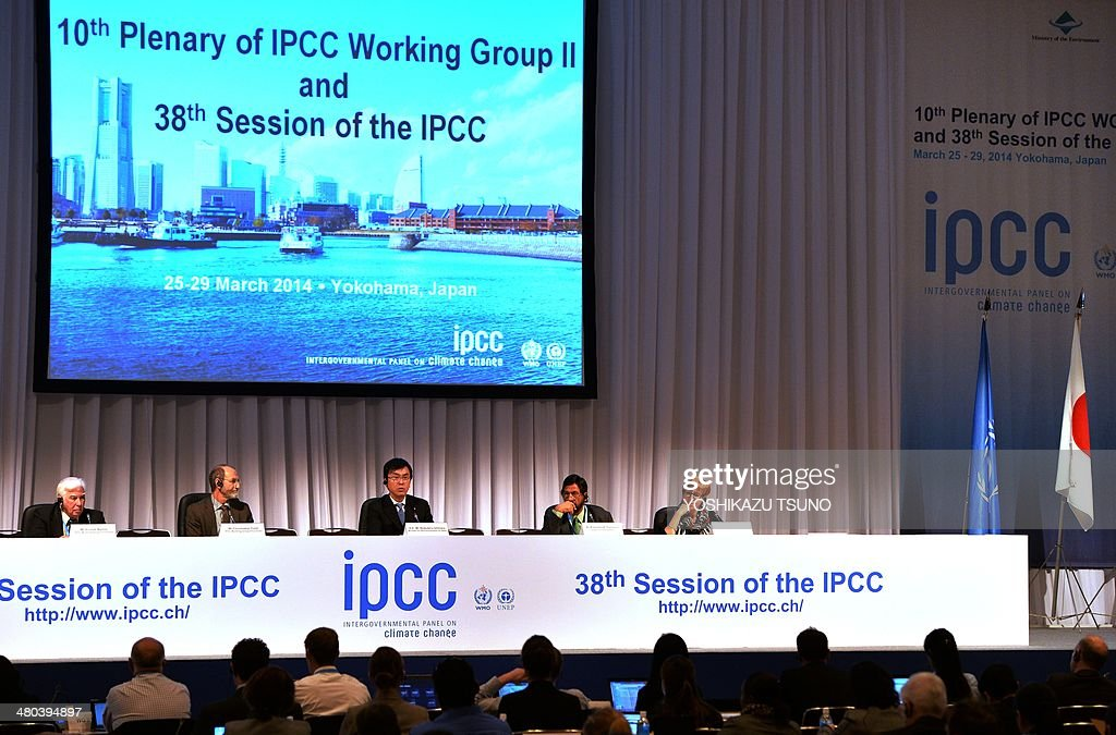 Japanese Environment Minister Nobuteru Ishihara (3rd L) delivers an opening speech at the opening session of the 10th plenary of the Intergovernmental Panel on Climate Change (IPCC) Working Group II in Yokohama, suburban Tokyo on March 25, 2014. International scientists gathered near Tokyo for a week-long meeting centred on a grim climate change report that warned of floods and drought that could stoke conflicts and wreak havoc on the global economy. AFP PHOTO / Yoshikazu TSUNO