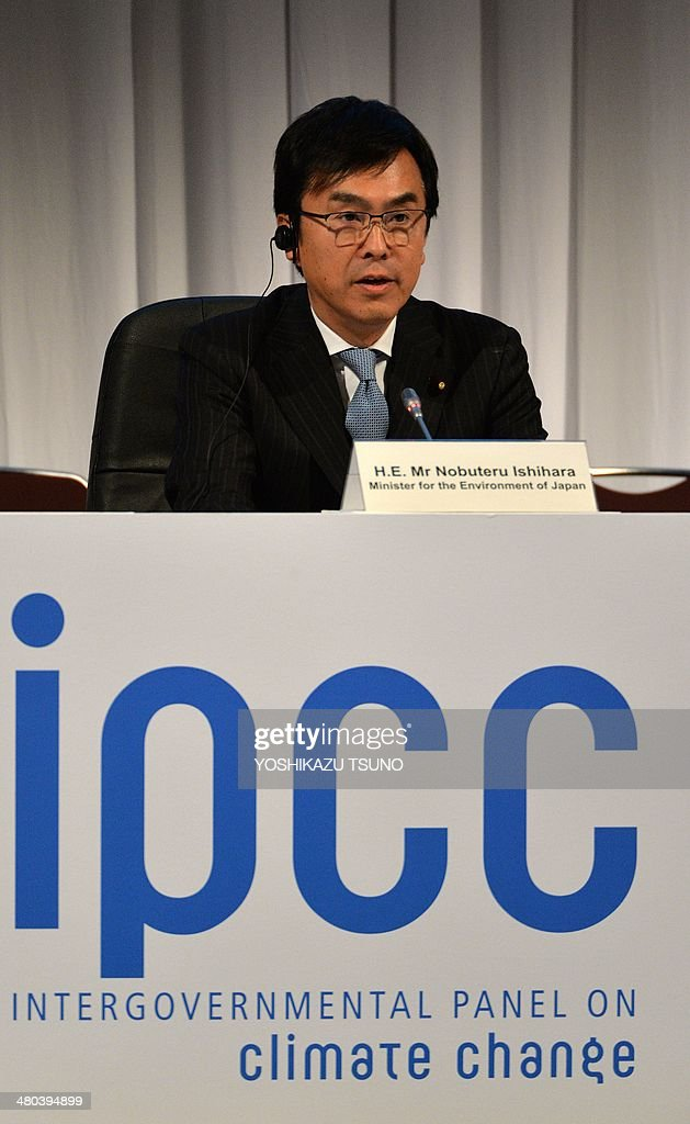 Japanese Environment Minister Nobuteru Ishihara delivers an opening speech at the opening session of the 10th plenary of the Intergovernmental Panel on Climate Change (IPCC) Working Group II in Yokohama, suburban Tokyo on March 25, 2014. International scientists gathered near Tokyo for a week-long meeting centred on a grim climate change report that warned of floods and drought that could stoke conflicts and wreak havoc on the global economy. AFP PHOTO / Yoshikazu TSUNO
