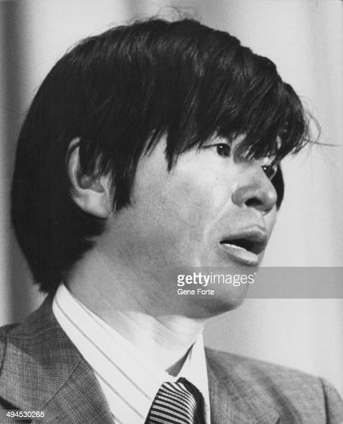 Japanese explorer Naomi Uemura at a press conference following his solo overland journey to the North Pole Washington D C August 30th 1978
