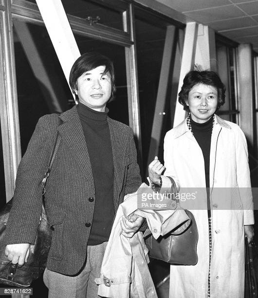 Japanese explorer Naomi Uemura who has been nominated for the 1979 International Award for Valour in Sport with his wife Kimoko on arrival at...