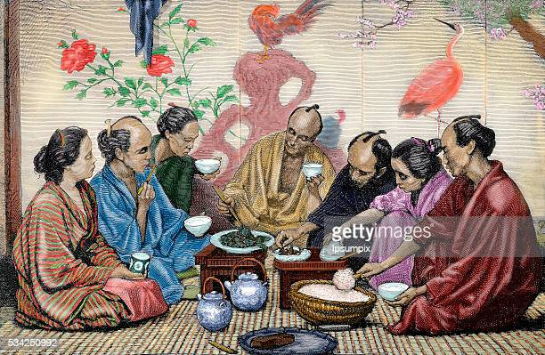 Japanese family eating Nineteenthcentury colored engraving