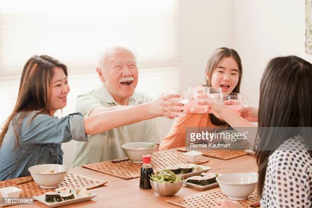 Japanese family eating together