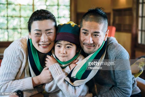 Japanese family have fun together