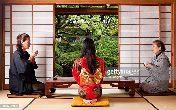 Japanese family having a tea time