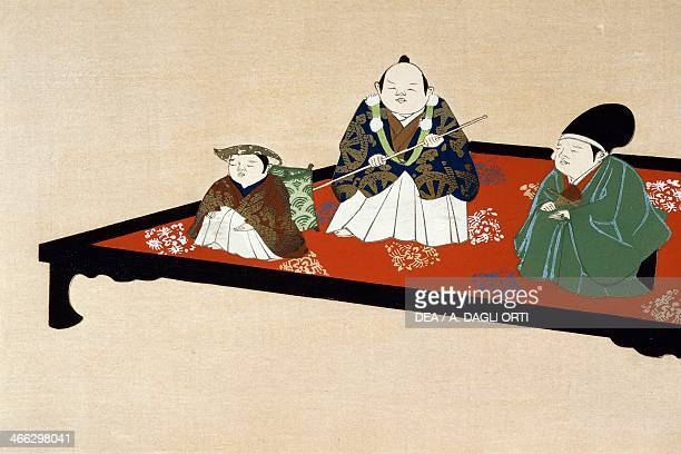 Japanese family in indoors ukiyoe art print by Kamisaka Sekka horizontal oban woodcut Japanese civilisation Edo period 17th19th century