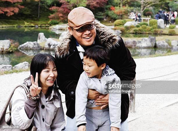 Japanese family in Sogenchi Garden,Tenruji Temple,Kyoto,Japan