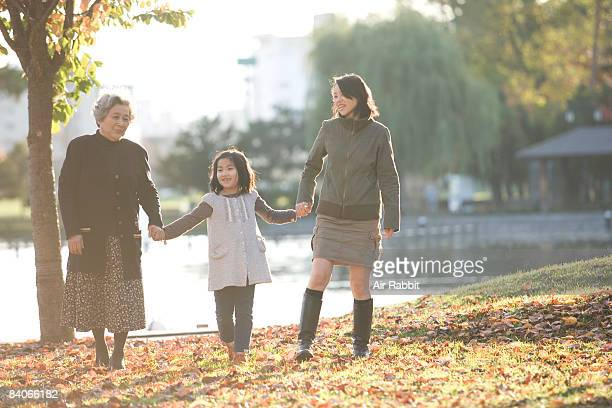 Japanese family in the park