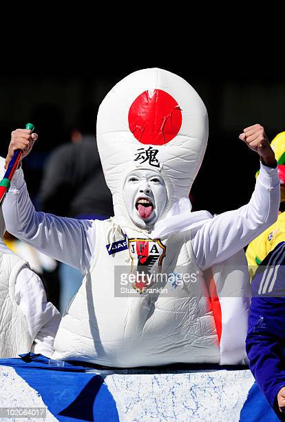 Japanese fan enjoys the atmosphere ahead of the 2010 FIFA World Cup South Africa Group E match between Japan and Cameroon at the Free State Stadium...