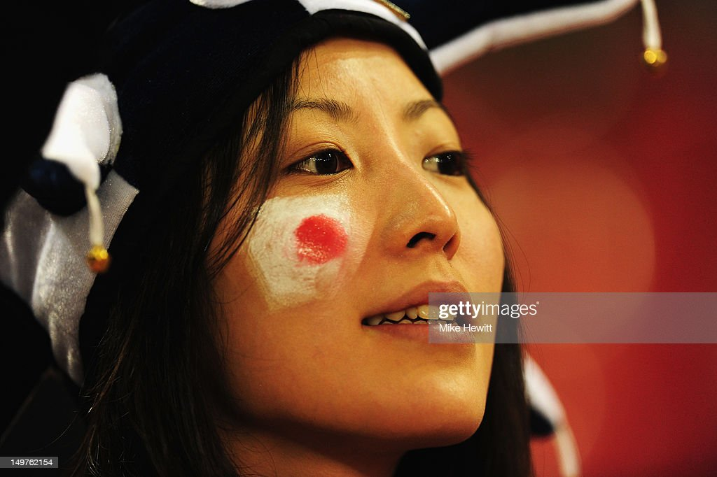 A Japanese fan looks on during the Women's Football Quarter Final match between Brazil and Japan, on Day 7 of the London 2012 Olympic Games at Millennium Stadium on August 3, 2012 in Cardiff, Wales.