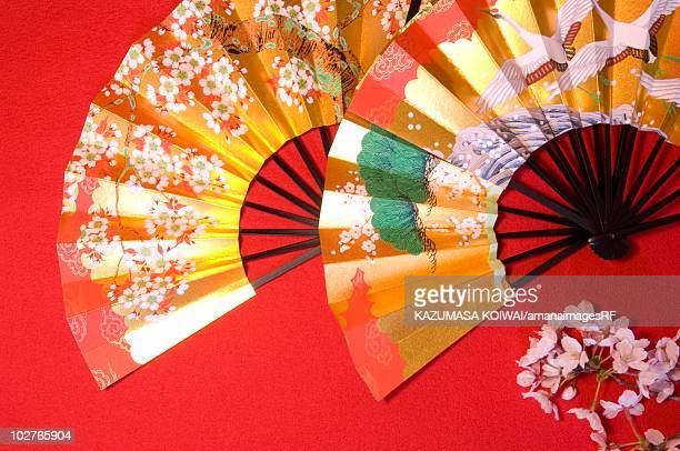 Japanese fans and cherry blossoms
