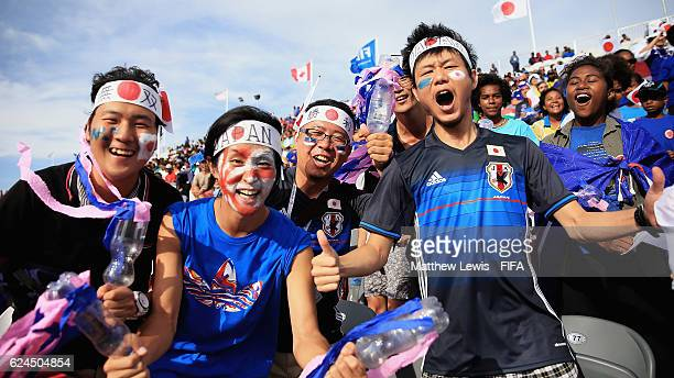 Japanese fans show their support to their team during the FIFA U20 Women's World Cup Papua New Guinea 2016 Group B match between Canada and Japan at...