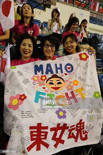 Japanese fans support their gymnast during the first day of 33rd Rhythmic Gymnastics World Championships in Izmir Turkey on September 22 2014