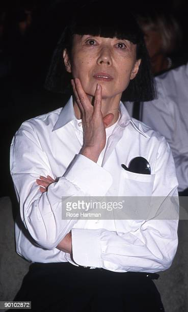 Japanese fashion designer Rei Kawakubo at 'Idea l'Uomo' press conference at the Palazzo Vecchio in Florence Italy