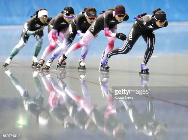 Japanese female speed skaters Miho Takagi Ayaka Kikuchi Ayano Sato Misaki Oshikiri and Nana Takagi train on Oct 19 at MWave in Nagano ahead of the...
