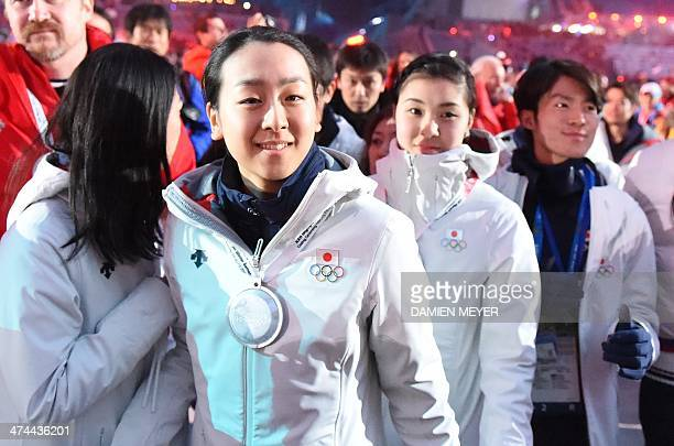 Japanese figure skater Mao Asada attends during the Closing Ceremony of the Sochi Winter Olympics at the Fisht Olympic Stadium on February 23 2014...