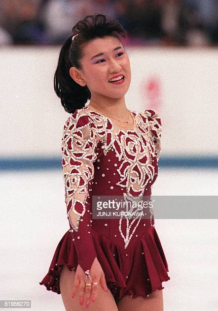 Japanese figure skater Midori Ito smiles at the end of the women's free program at the Winter Olympic Games 21 February 1992 in Albertville Kristi...