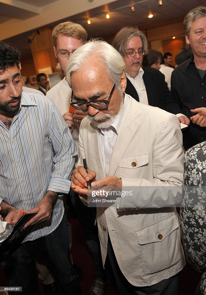 Japanese film maker Hayao Miyazaki signs autographs at AMPAS' 14th annual Marc Davis Celebration of Animation at the AMPAS Samuel Goldwyn Theater on July 28, 2009 in Beverly Hills, California.