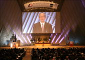 Japanese Finance Minister Koji Omi speaks during the opening session of the 40th Annual Meeting of the Asian Development Bank at the Kyoto...