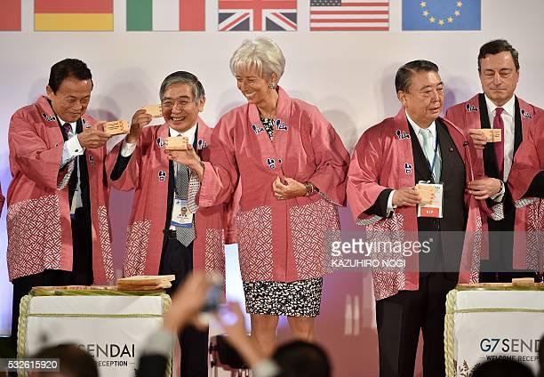 Japanese Finance Minister Taro Aso Governor of the Bank of Japan Haruhiko Kuroda International Monetary Fund Managing Director Christine Lagarde...