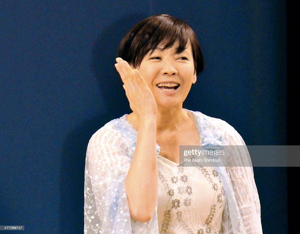 Japanese first lady Akie Abe performs during the sign language and dance event 'Challenge Life' at Nakano Zero Hall on March 8, 2014 in Tokyo, Japan.