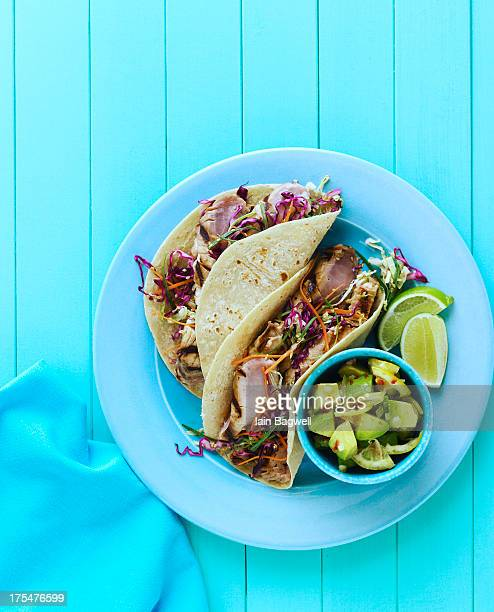 Japanese fish tacos with toasted sesame slaw
