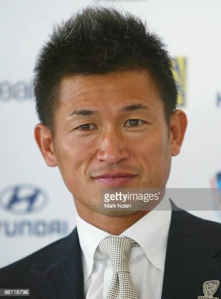 Japanese footballer Kazuyoshi Miura looks on during the Sydney FC press conference at Star City on November 8 2005 in Sydney Australia Sydney FC have...