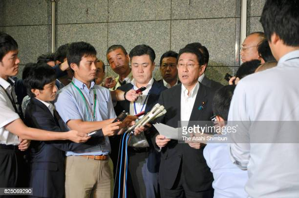 Japanese Foreign and Defense Minister Fumio Kishida speaks to media reporters after North Korea's missile launch on July 29 2017 in Tokyo Japan North...