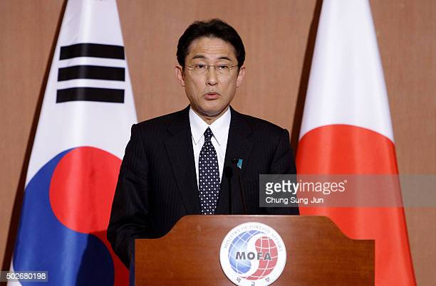 Japanese Foreign Minister Fumio Kishida attends the joint press conference with South Korean Foreign Minister Yun ByungSe at foreign ministry on...