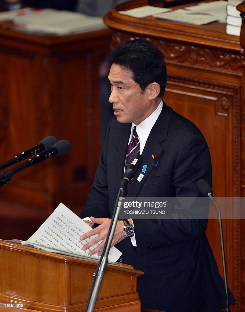 Japanese Foreign Minister Fumio Kishida delivers a foreign policy speech at the Lower House's plenary session at the National Diet in Tokyo on February 28, 2013. Faced with a territorial dispute with China, Prime Minister Shinzo Abe quoted former British prime minister Margaret Thatcher stressing the rule of law over the 1982 Falklands war. AFP PHOTO / Yoshikazu TSUNO