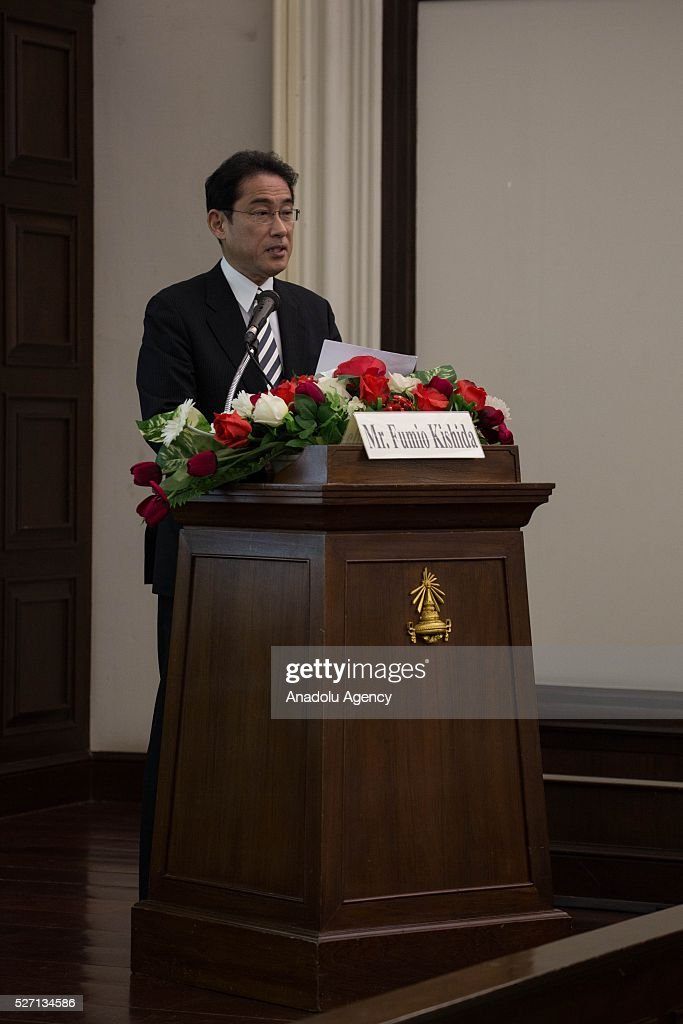 Japanese Foreign Minister Fumio Kishida having a public lecture on ASEAN at Maha Chulalongkorn Building in Chulalongkorn University, during a part of his visit in Bangkok, Thailand on May 02, 2016. Fumio Kishida is the first Japanese Foreign Minister who visit Thailand in the past 5 years.