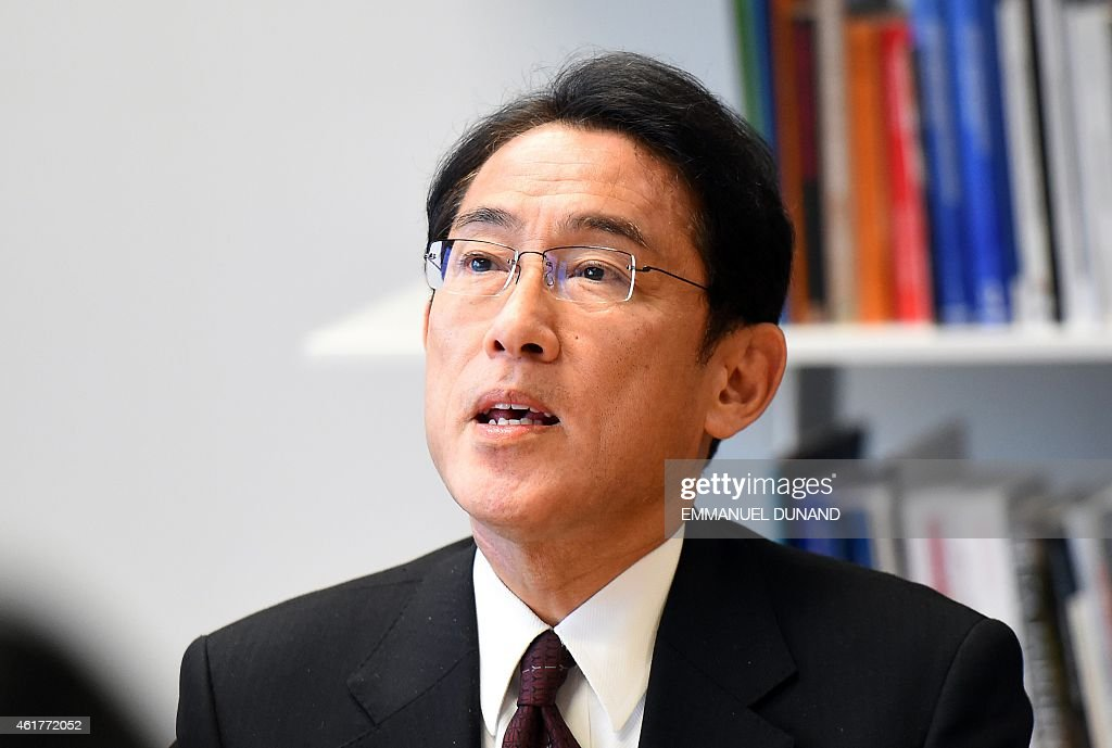 Japanese Foreign Minister <a gi-track='captionPersonalityLinkClicked' href=/galleries/search?phrase=Fumio+Kishida&family=editorial&specificpeople=10093794 ng-click='$event.stopPropagation()'>Fumio Kishida</a> speaks as he meets with European Commissioner for Trade during a visit at the European Commission headquarters in Brussels, January 19, 2015. AFP PHOTO / EMMANUEL DUNAND
