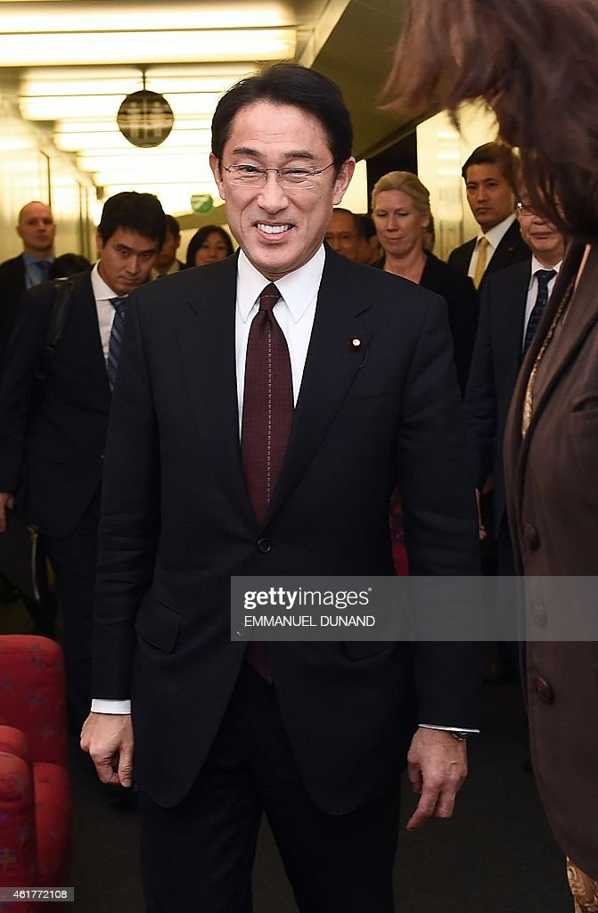 Japanese Foreign Minister <a gi-track='captionPersonalityLinkClicked' href=/galleries/search?phrase=Fumio+Kishida&family=editorial&specificpeople=10093794 ng-click='$event.stopPropagation()'>Fumio Kishida</a> speaks as he meets with European Commissioner for Trade during a visit at the European Commission headquarters in Brussels, January 19, 2015.