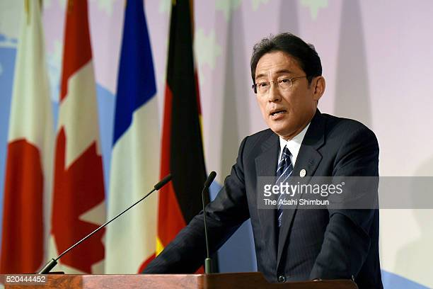 Japanese Foreign Minister Fumio Kishida speaks during a press conference after the G7 Foregin Ministers Meeting on April 11 2016 in Hiroshima Japan A...