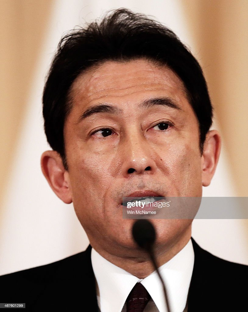 Japanese Foreign Minister <a gi-track='captionPersonalityLinkClicked' href=/galleries/search?phrase=Fumio+Kishida&family=editorial&specificpeople=10093794 ng-click='$event.stopPropagation()'>Fumio Kishida</a> speaks while delivering a joint statement with U.S. Secretary of State John Kerry at the State Department February 7, 2014 in Washington, DC. The two diplomatic leaders discussed a wide range of bilateral issues during their meetings at the State Department.