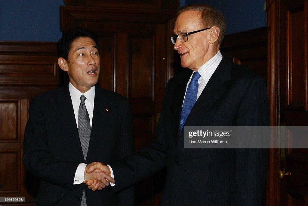 Japanese Foreign Minister Fumio Kushida and Foreign Minister <a gi-track='captionPersonalityLinkClicked' href=/galleries/search?phrase=Bob+Carr&family=editorial&specificpeople=209391 ng-click='$event.stopPropagation()'>Bob Carr</a> attend a bilateral meeting at the Intercontinental Hotel on January 13, 2013 in Sydney, Australia. This is the first overseas assignment for Japanese Foreign Minister Fumio Kushida who will also meet with Australian Trade Minister Craig Emerson during his one day visit to the country.