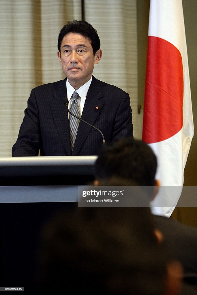 Japanese Foreign Minister Fumio Kushida attends a press conference during bilateral meetings with Australian Foreign Minister Bob Carr at the Intercontinental Hotel on January 13, 2013 in Sydney, Australia. This is the first overseas assignment for Japanese Foreign Minister Fumio Kushida who will also meet with Australian Trade Minister Craig Emerson during his one day visit to the country.