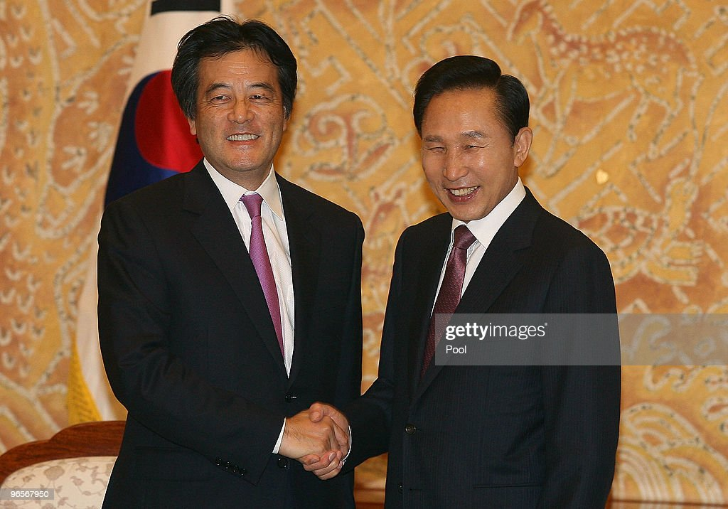 Japanese Foreign Minister <a gi-track='captionPersonalityLinkClicked' href=/galleries/search?phrase=Katsuya+Okada&family=editorial&specificpeople=226520 ng-click='$event.stopPropagation()'>Katsuya Okada</a> shakes (L) hands with South Korean President <a gi-track='captionPersonalityLinkClicked' href=/galleries/search?phrase=Lee+Myung-Bak&family=editorial&specificpeople=704274 ng-click='$event.stopPropagation()'>Lee Myung-Bak</a> (R) at the presidential house on February 11, 2010 in Seoul, South Korea. Okada is on a two-day visit to South Korea, his first since becoming Foreign Minister.