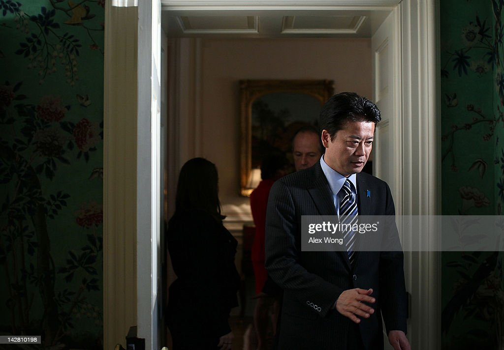 Japanese Foreign Minister <a gi-track='captionPersonalityLinkClicked' href=/galleries/search?phrase=Koichiro+Gemba&family=editorial&specificpeople=7046304 ng-click='$event.stopPropagation()'>Koichiro Gemba</a> during G8 Foreign Ministers Summit April 12, 2012 at the Blair House in Washington, DC. U.S. Secretary of State Hillary Clinton hosted her counterparts from the Group of Eight leading industrialized nations for the G8 Foreign Ministers Meeting to discuss global issues.
