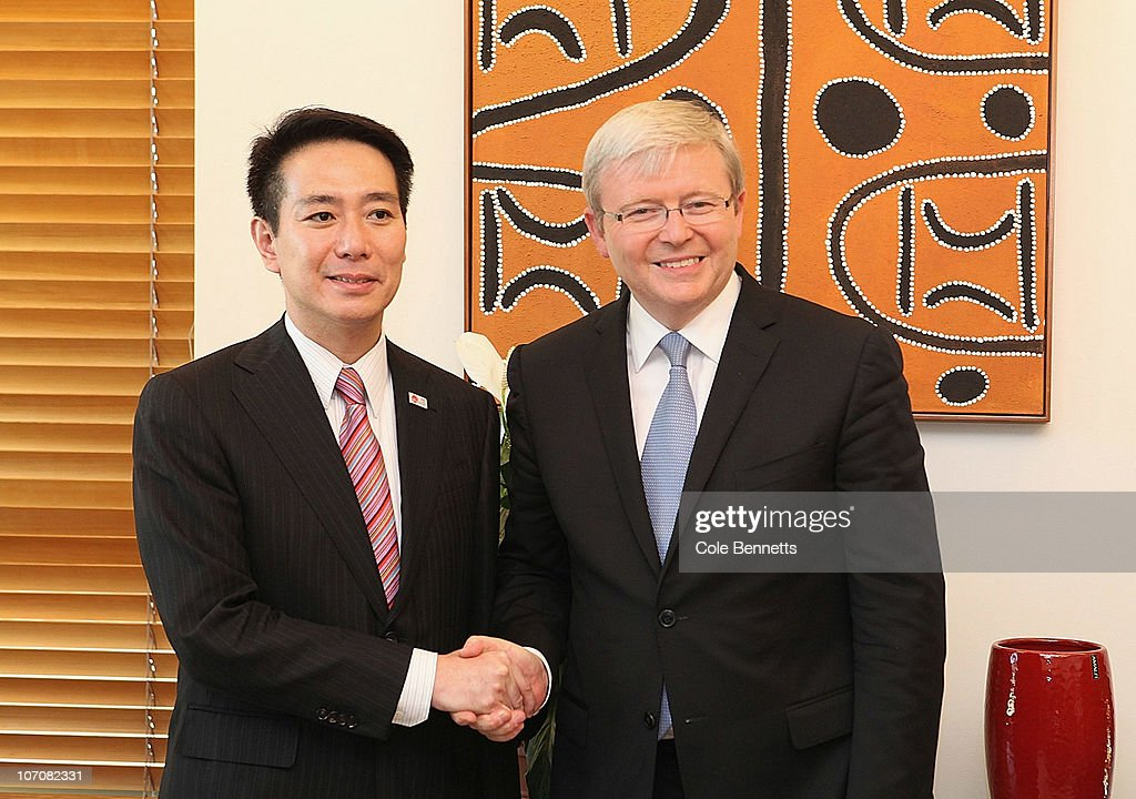 Japanese Foreign Minister Seiji Maehara and Australian Foreign Minister Kevin Rudd shake hands at Parliament House on November 23 2010 in Canberra...