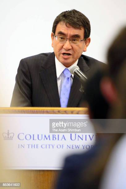 Japanese Foreign Minister Taro Kono addresses at Columbia University on September 21 2017 in New York City