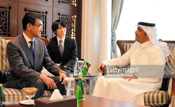 Japanese Foreign Minister Taro Kono and Qatar Foreign Minister Sheikh Mohammed bin Abdulrahman AlThani talk during their meeting on September 9 2017...